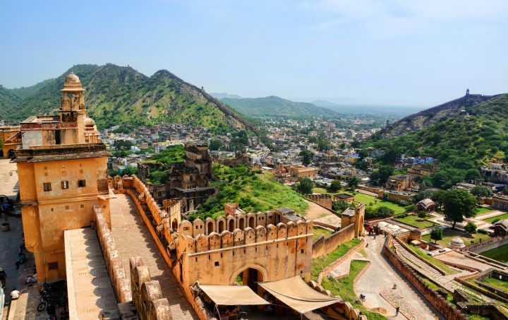 High Angle Landscape View From Amber Fort, Jaipur, Rajasthan, India