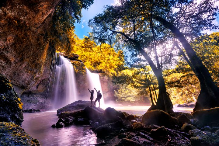 Heo Suwat Waterfall in Khao Yai National Park Famous waterfall park in Thailand . autumn season for leaves.