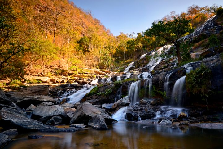 Autumn landscape , Waterfall in deep forest chiang mai Thailand .