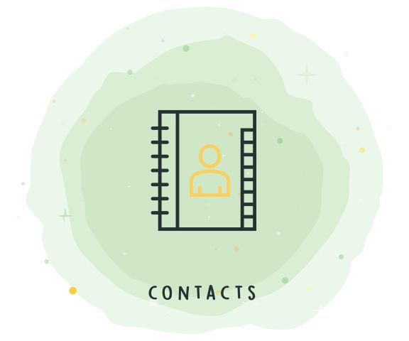 Contacts Icon with Watercolor Patch