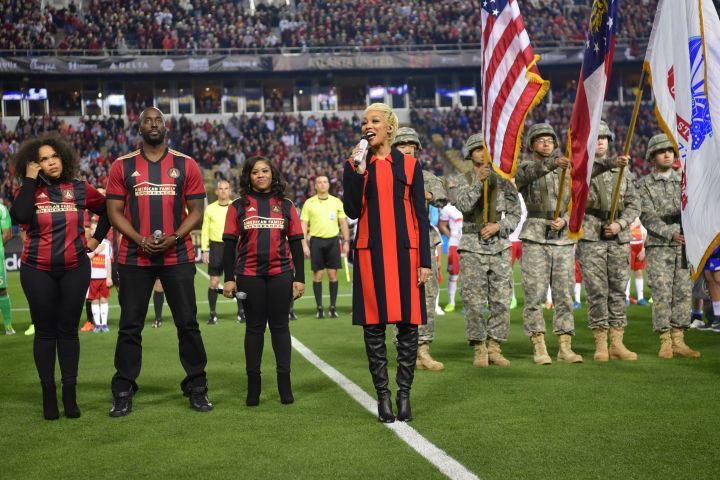 Monica Sings The National Anthem At The Atlanta United Vs Red Bull New York Inaugural MLS Game