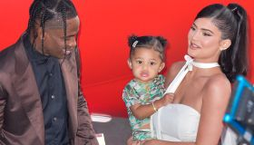 Rapper Travis Scott, Stormi Webster and television personality Kylie Jenner arrive at the Los Angeles Premiere Of Netflix's 'Travis Scott: Look Mom I Can Fly' held at Barker Hangar on August 27, 2019 in Santa Monica, Los Angeles, California, United States