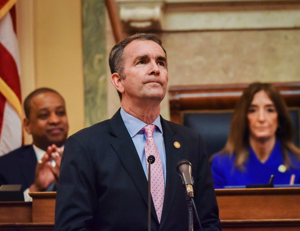 Governor Ralph Northam addresses a joint session of the Virginia General Assembly, which went solidly blue in 2019, on January 08 in Richmond, VA.
