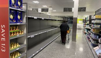 panic buyers continue to strip supermarket shelve